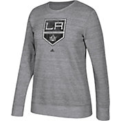adidas Women's Los Angeles Kings Distressed Logo Heather Grey Sweatshirt