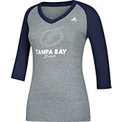 adidas Women's Tampa Bay Lightning Bling Blue 3/4 Sleeve V-Neck Shirt