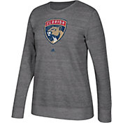adidas Women's Florida Panthers Distressed Logo Heather Grey Sweatshirt