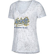 adidas Women's Nashville Predators Script Tail White V-Neck T-Shirt