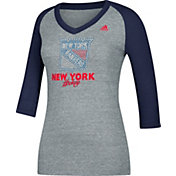 adidas Women's New York Rangers Bling Blue 3/4 Sleeve V-Neck Shirt