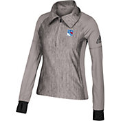 adidas Women's New York Rangers Logo Grey Performance Quarter-Zip Pullover
