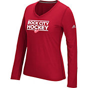 adidas Women's Detroit Red Wings Local Dassler Red Performance V-Neck Long Sleeve Shirt