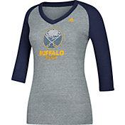 adidas Women's Buffalo Sabres Bling Navy 3/4 Sleeve V-Neck Shirt