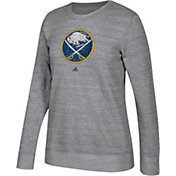 adidas Women's Buffalo Sabres Distressed Logo Heather Grey Sweatshirt