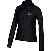 adidas Women's San Jose Sharks Logo Black Performance Quarter-Zip Pullover