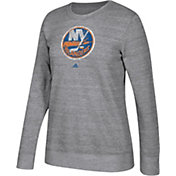 adidas Women's New York Islanders Distressed Logo Heather Grey Sweatshirt