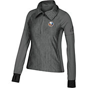 adidas Women's New York Islanders Logo Grey Performance Quarter-Zip Pullover