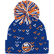 adidas Women's New York Islanders Royal Cuff Pom Knit Beanie