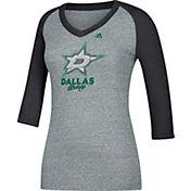adidas Women's Dallas Stars Bling Black 3/4 Sleeve V-Neck Shirt