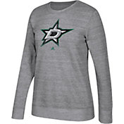 adidas Women's Dallas Stars Distressed Logo Heather Grey Sweatshirt