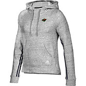 adidas Women's Minnesota Wild Team Stitch Heather Grey Pullover Hoodie