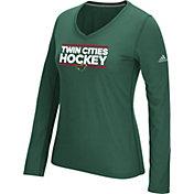 adidas Women's Minnesota Wild Local Dassler Green Performance V-Neck Long Sleeve Shirt