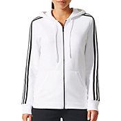 adidas Women's Essentials Cotton Fleece 3-Stripes Full Zip Hoodie