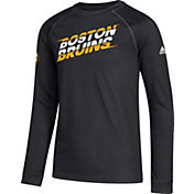adidas Youth Boston Bruins Line Shift Black Long Sleeve Shirt