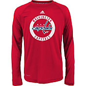 adidas Youth Washington Capitals Practice Red Performance Long Sleeve Shirt