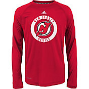 adidas Youth New Jersey Devils Practice Red Performance Long Sleeve Shirt