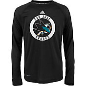 adidas Youth San Jose Sharks Practice Black Performance Long Sleeve Shirt