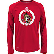 adidas Youth Ottawa Senators Practice Red Performance Long Sleeve Shirt