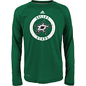 adidas Youth Dallas Stars Practice Green Performance Long Sleeve Shirt