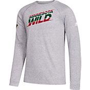 adidas Youth Minnesota Wild Line Shift Grey Long Sleeve Shirt
