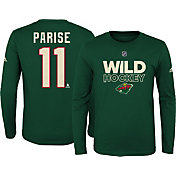 adidas Youth Minnesota Wild Zach Parise #11 Green Long Sleeve Shirt