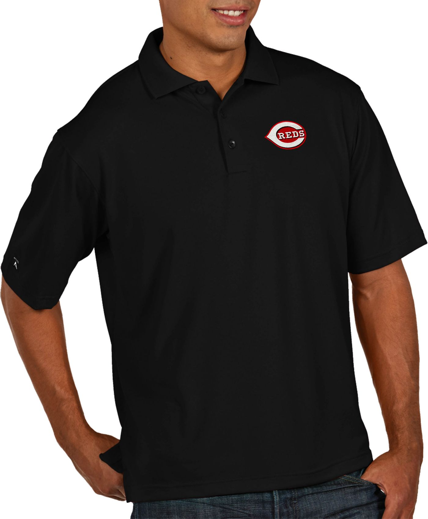 Antigua Men's Cincinnati Reds Pique Black Performance Polo