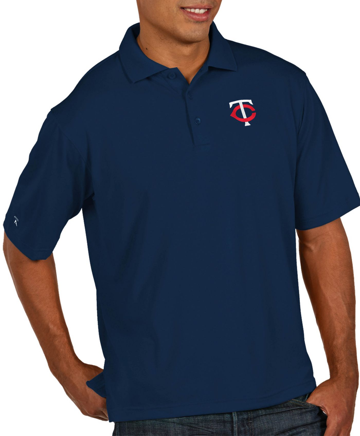 Antigua Men's Minnesota Twins Pique Navy Performance Polo