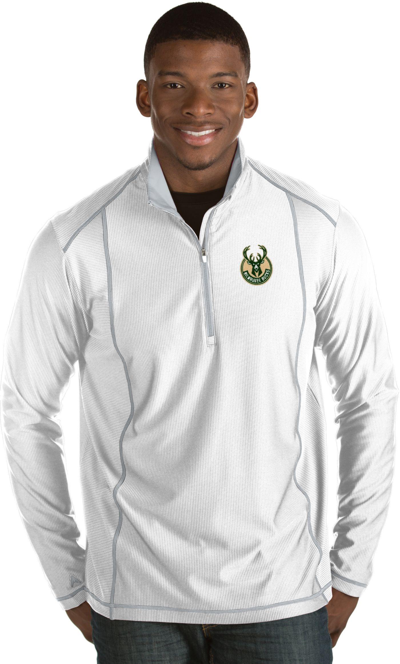 Antigua Men's Milwaukee Bucks Tempo White Quarter-Zip Pullover
