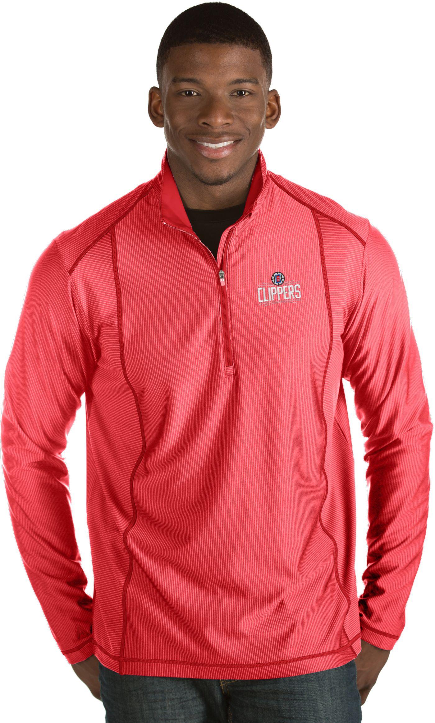Antigua Men's Los Angeles Clippers Tempo Red Quarter-Zip Pullover