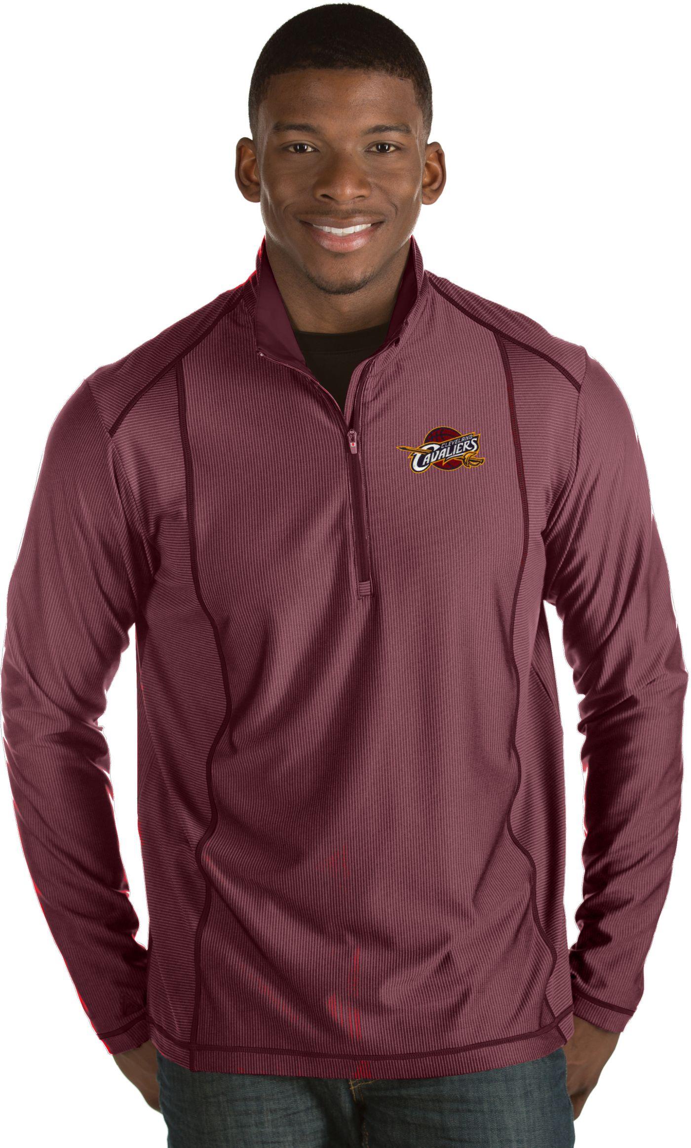 Antigua Men's Cleveland Cavaliers Tempo Burgundy Quarter-Zip Pullover