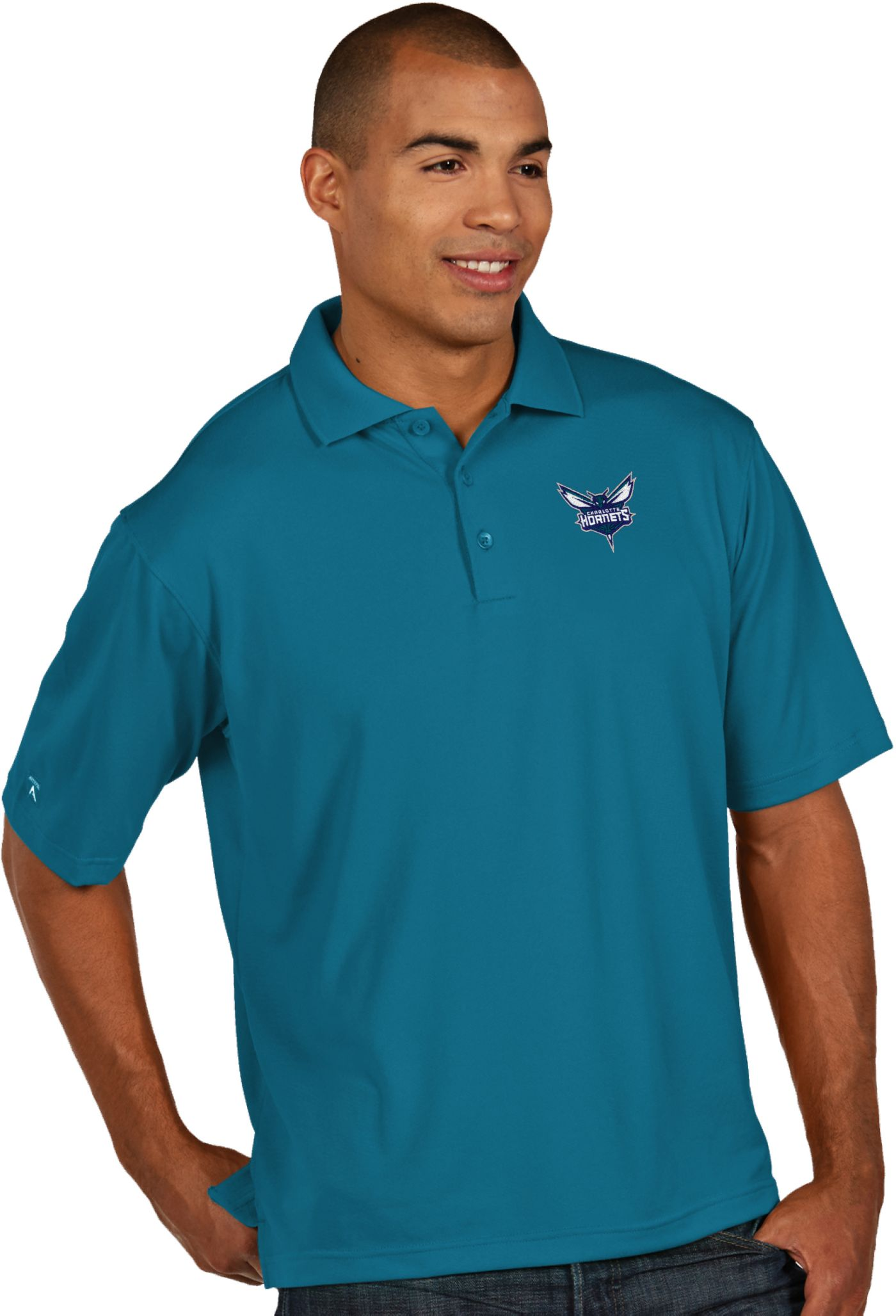 Antigua Men's Charlotte Hornets Xtra-Lite Teal Pique Performance Polo