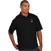 Antigua Men's Miami Heat Xtra-Lite Black Pique Performance Polo
