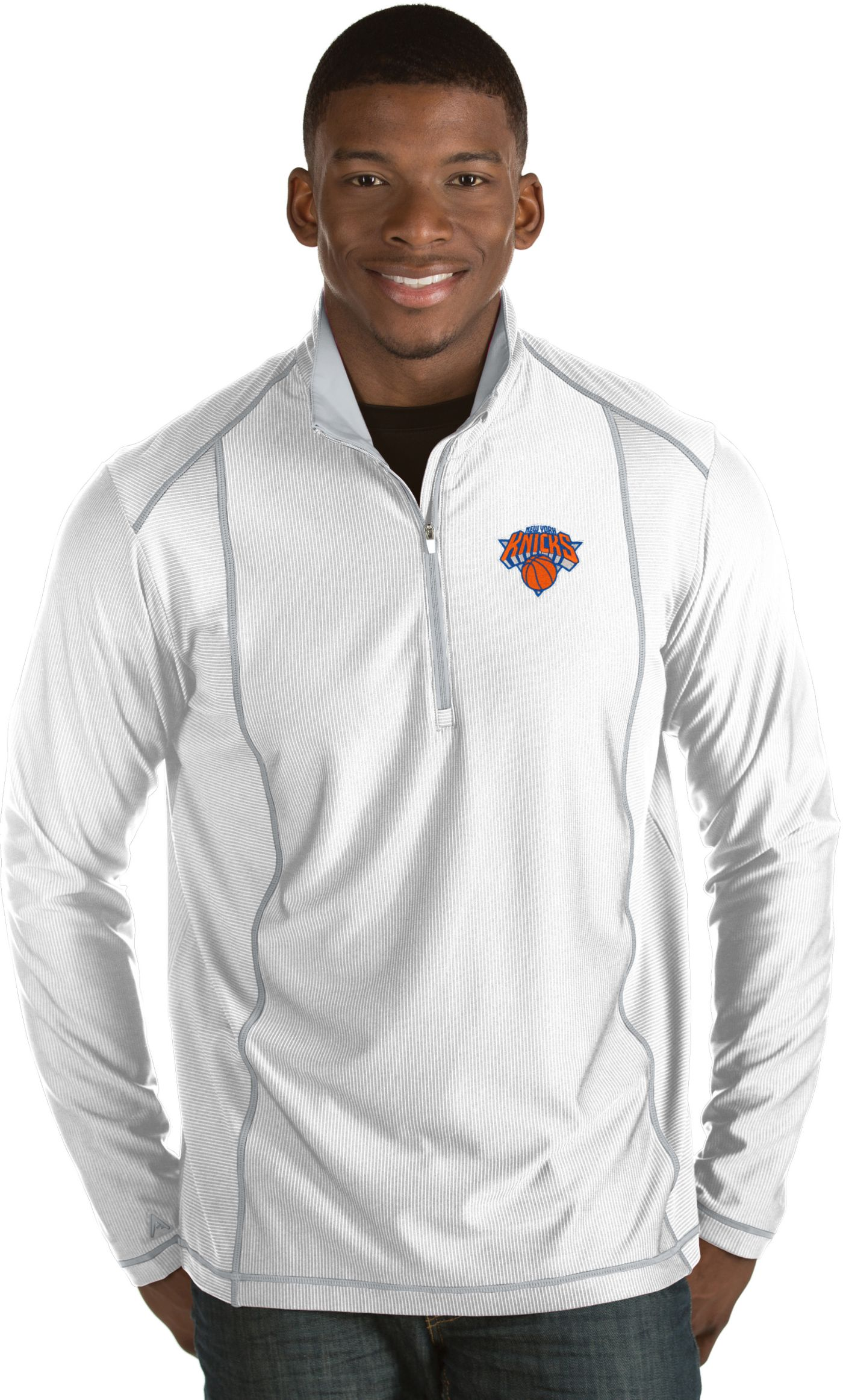Antigua Men's New York Knicks Tempo White Quarter-Zip Pullover