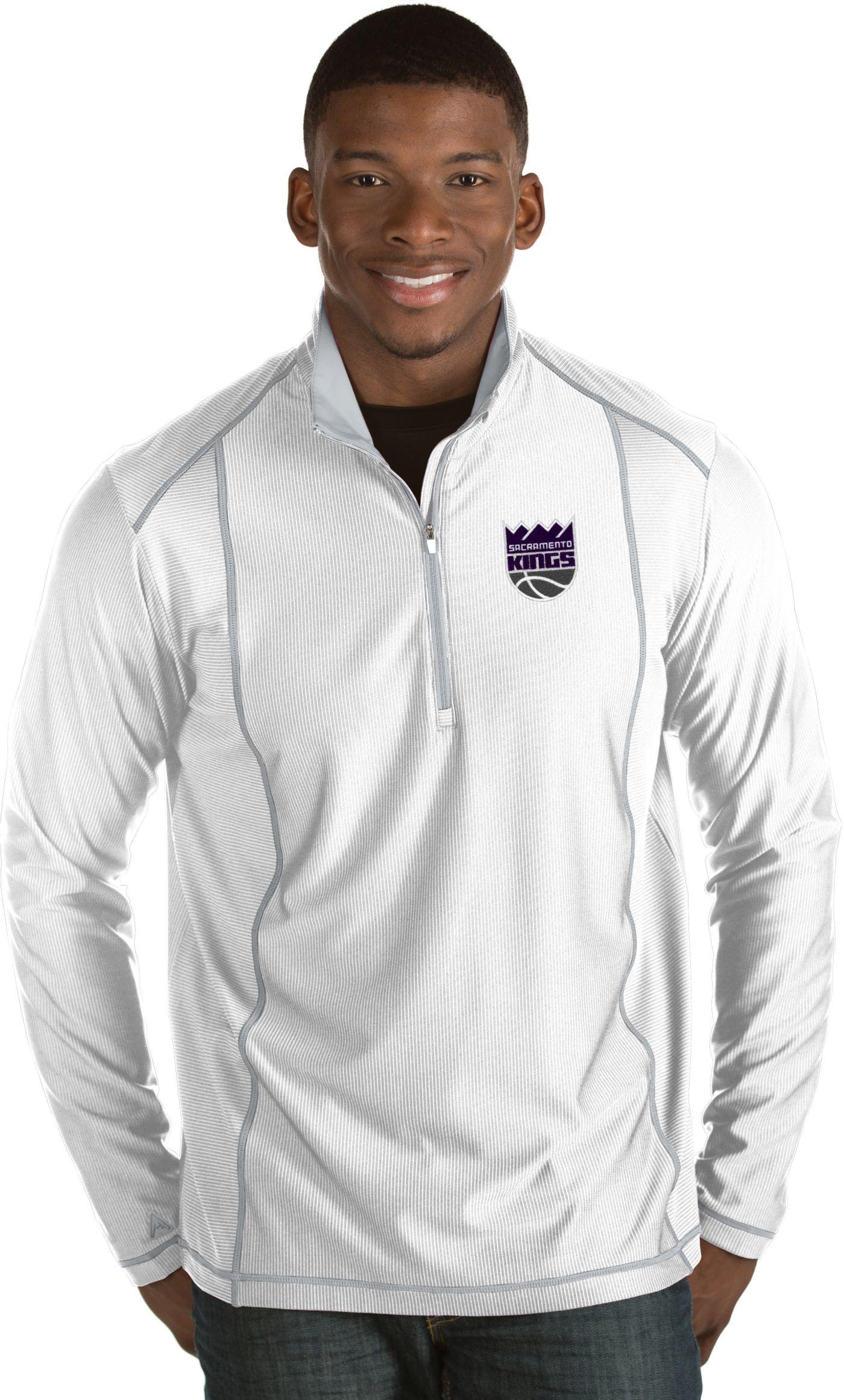 Antigua Men's Sacramento Kings Tempo White Quarter-Zip Pullover