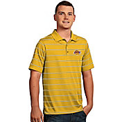 Antigua Men's Los Angeles Lakers Deluxe Gold Striped Performance Polo