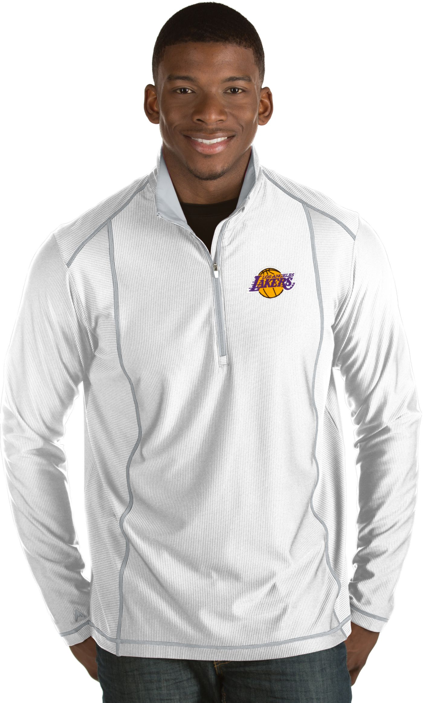 Antigua Men's Los Angeles Lakers Tempo White Quarter-Zip Pullover