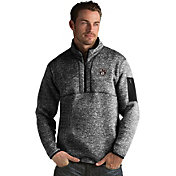 Antigua Men's Brooklyn Nets Fortune Black Half-Zip Pullover