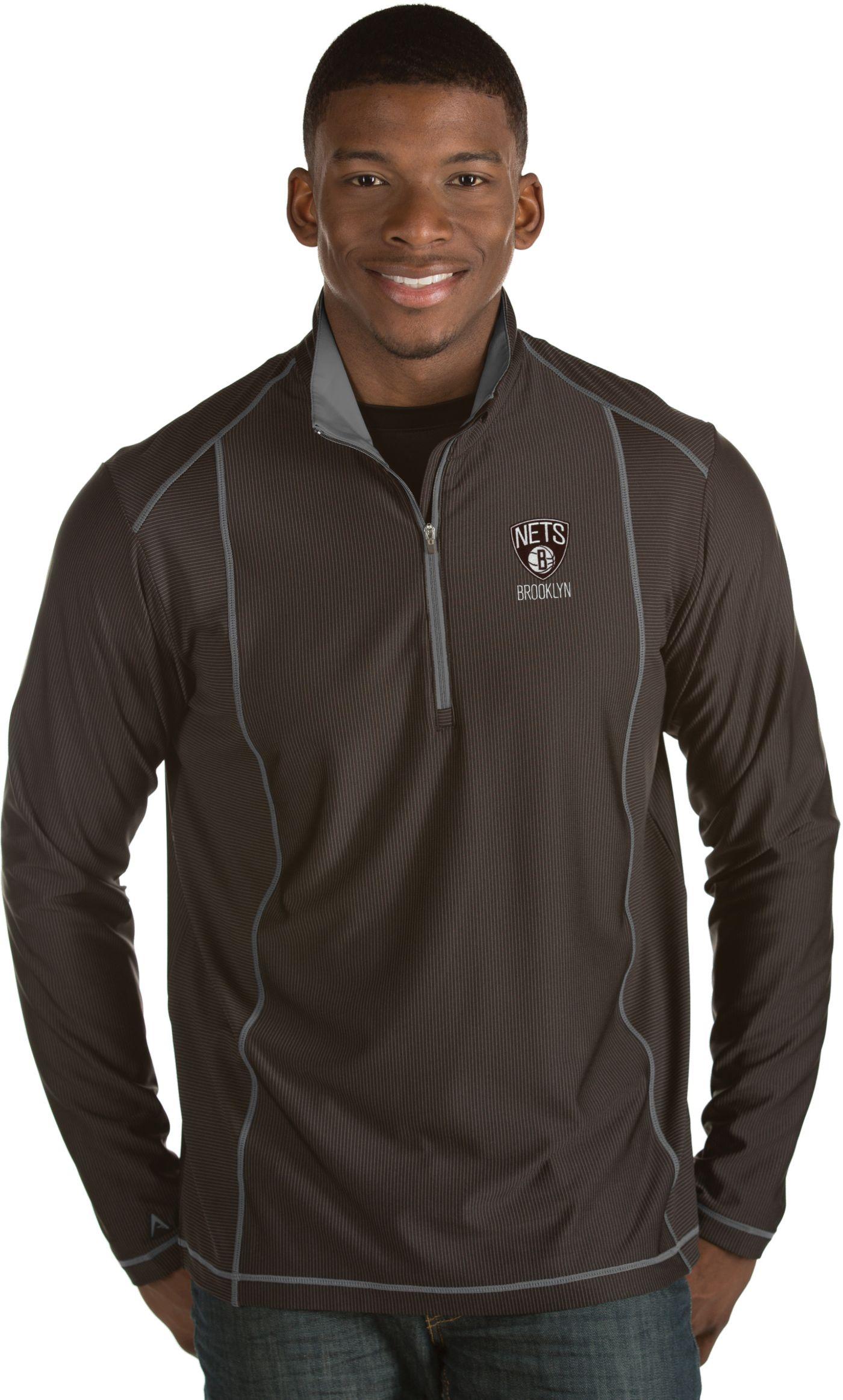 Antigua Men's Brooklyn Nets Tempo Black Quarter-Zip Pullover