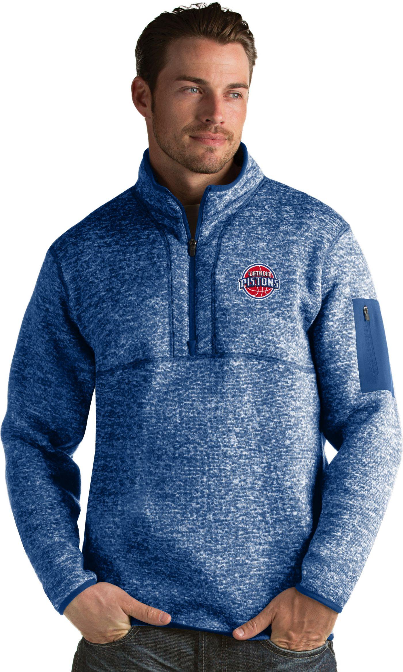 Antigua Men's Detroit Pistons Fortune Royal Half-Zip Pullover