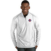 Antigua Men's Detroit Pistons Tempo White Quarter-Zip Pullover