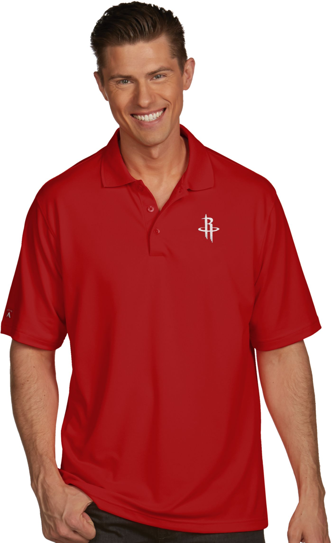 Antigua Men's Houston Rockets Xtra-Lite Red Pique Performance Polo