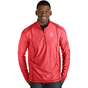 Antigua Men's Houston Rockets Tempo Red Quarter-Zip Pullover