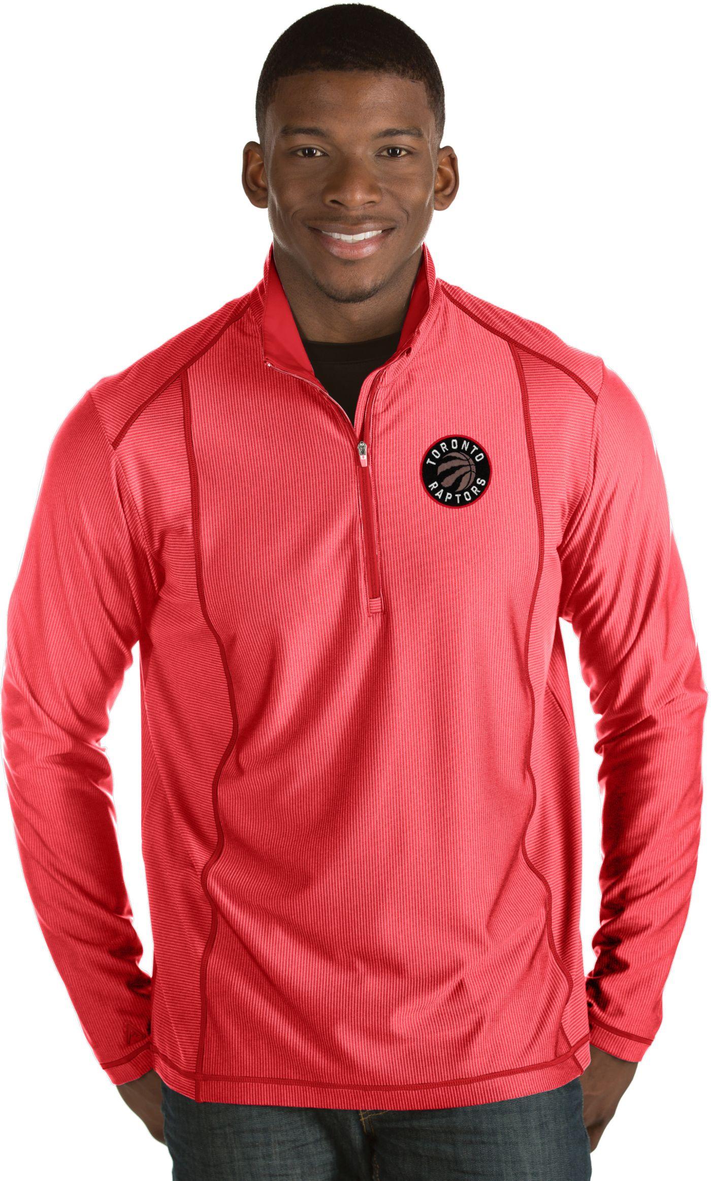 Antigua Men's Toronto Raptors Tempo Red Quarter-Zip Pullover