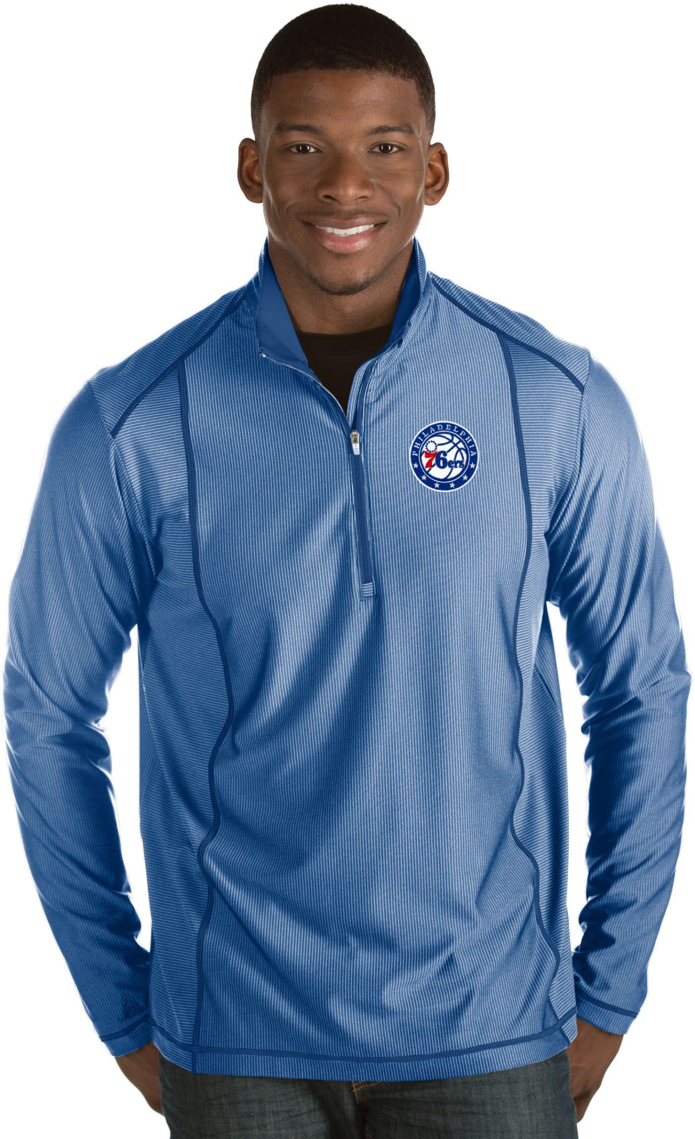 Antigua Men's Philadelphia 76ers Tempo Royal Quarter-Zip Pullover