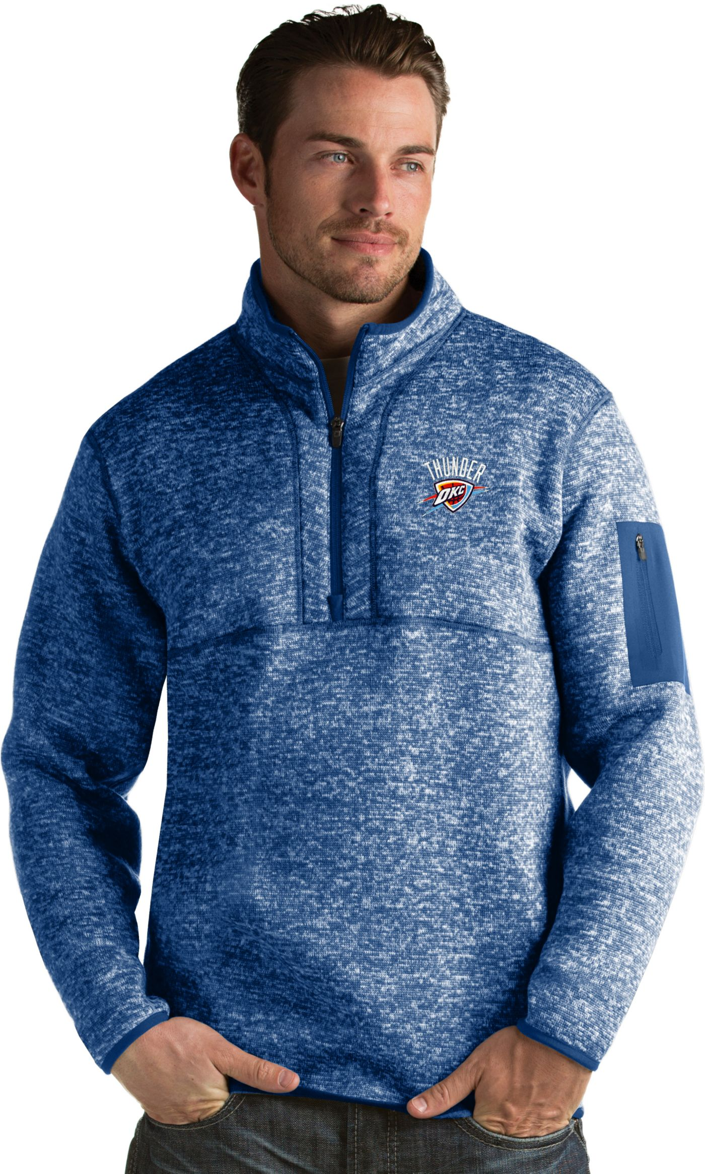 Antigua Men's Oklahoma City Thunder Fortune Royal Half-Zip Pullover