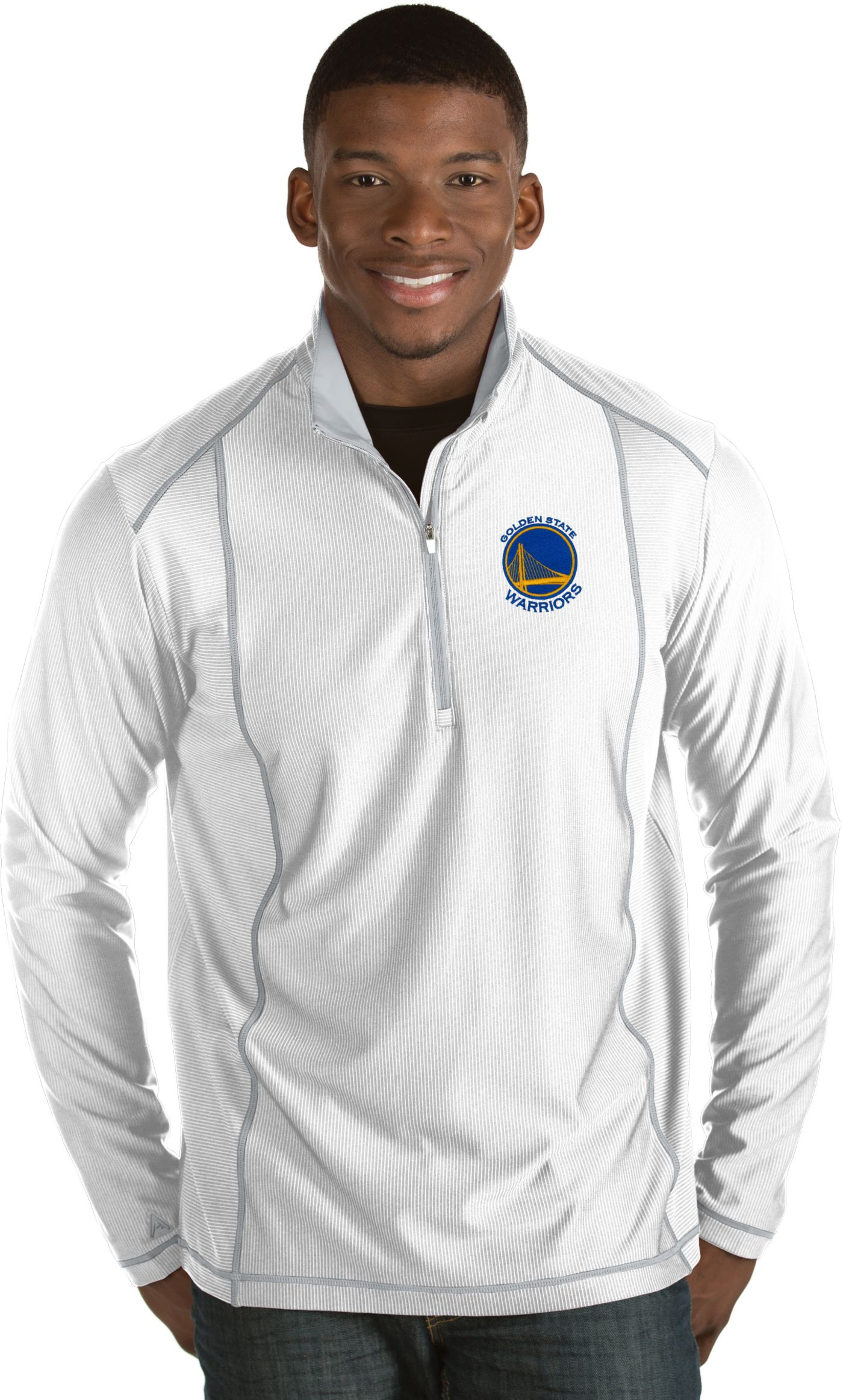 Antigua Men's Golden State Warriors Tempo White Quarter-Zip Pullover