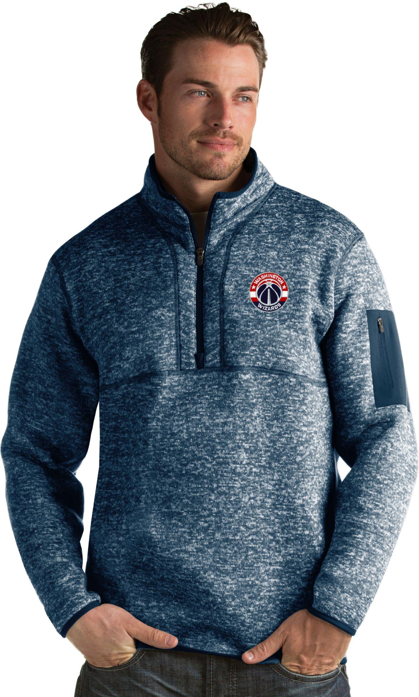 Antigua Men's Washington Wizards Fortune Navy Half-Zip Pullover