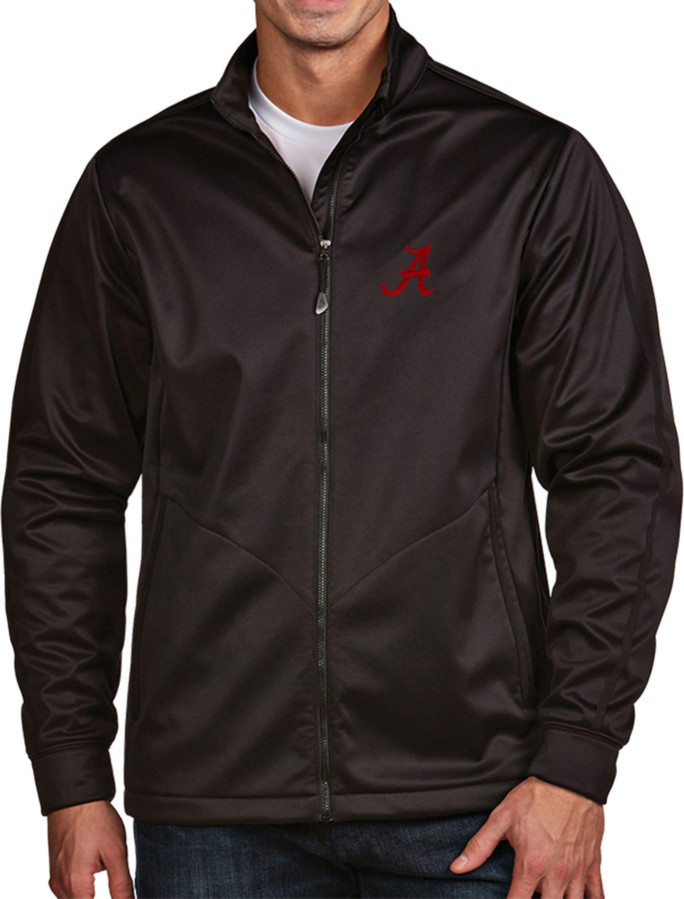 Antigua Men's Alabama Crimson Tide Black Full-Zip Golf Jacket