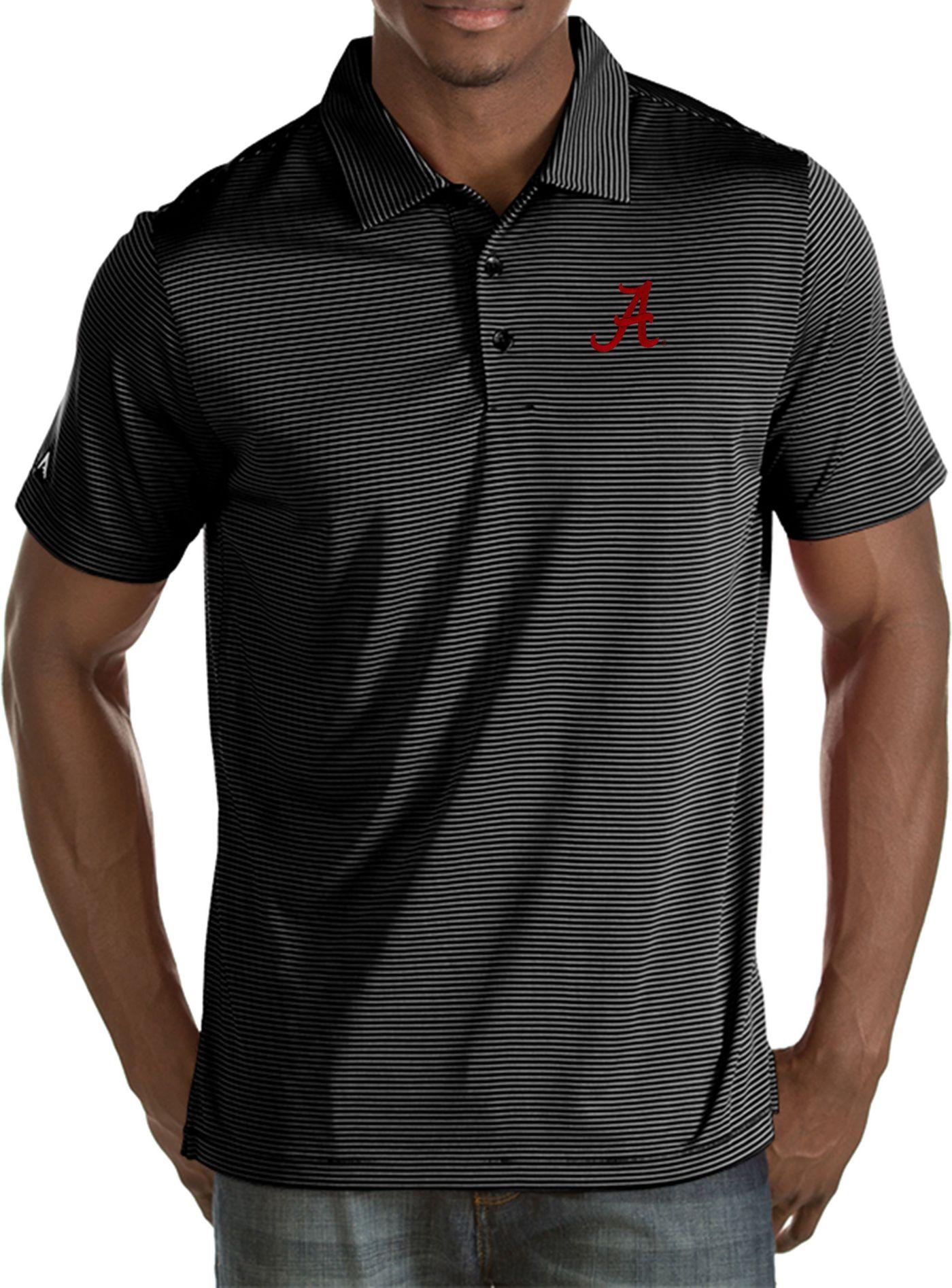 Antigua Men's Alabama Crimson Tide Black Quest Polo